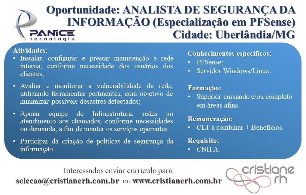 Cristiane RH - Analista de Segurança da Informação